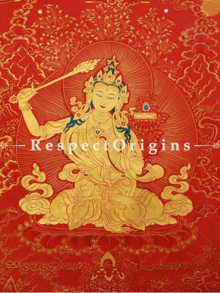 Manjushri Vertical Large Tibetan Thangka Painting Adorned With 24K Gold Paint Framed in A Traditional Silk Brocade Border Finished Size With Border Is 36x28 in.