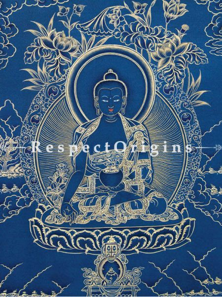 Medicine Buddha Vertical Large Tibetan Thangka Painting Adorned With 24K Gold Paint Framed in A Traditional Silk Brocade Border Finished Size With Border Is 36x28 in.