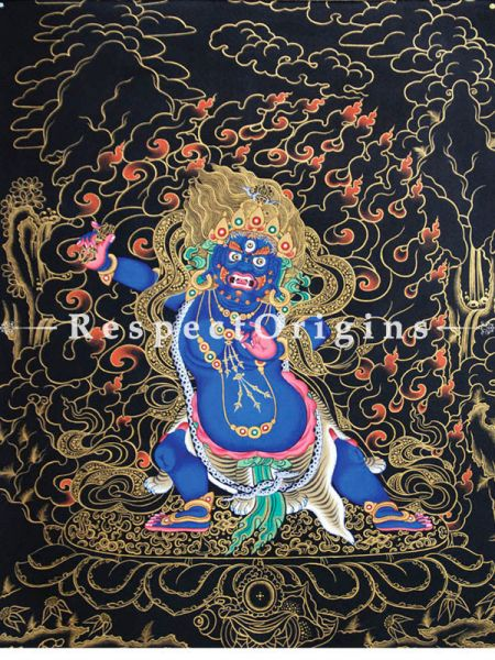 Vajrapani Vertical Large Tibetan Thangka Painting Adorned With 24K Gold Paint Framed in A Traditional Silk Brocade Border Finished Size With Border Is 36x28 in.