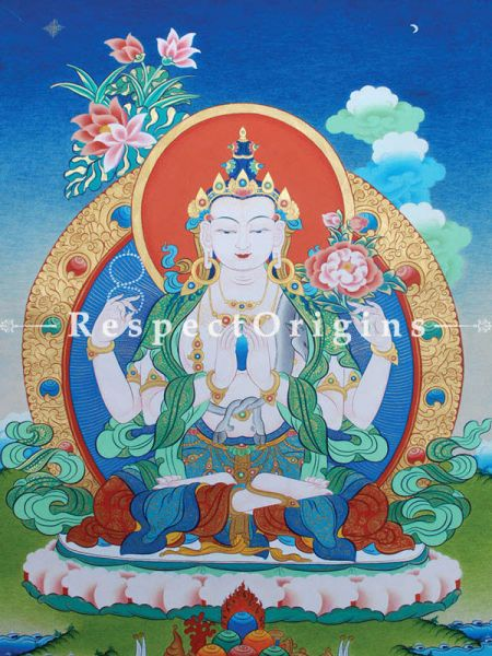 Avalokitesvara Vertical Large Tibetan Thangka Painting Adorned With 24K Gold Paint Framed in A Traditional Silk Brocade Border Finished Size With Border Is 36x28 in.