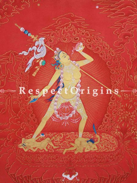 Vajrayogini Vertical Large Tibetan Painting Adorned With 24K Gold Paint Framed in A Traditional Silk Brocade Border Finished Size With Border Is 36x28 in.