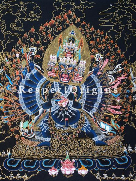 Vajrabhairava Vertical Large Tibetan Thangka Painting Adorned With 24K Gold Paint Framed in A Traditional Silk Brocade Border Finished Size With Border Is 36x28 in.