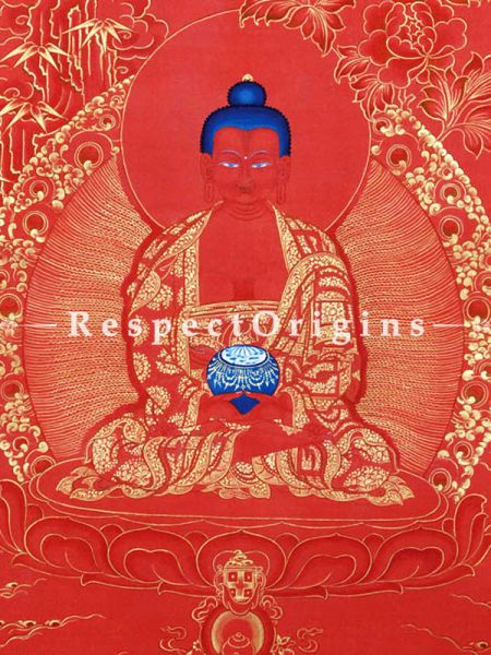Buddha Amitabha Vertical Large Tibetan Thangka Painting Adorned With 24K Gold Paint Framed in A Traditional Silk Brocade Border Finished Size With Border Is 36x28 in.