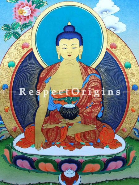 Buddha Shakyamuni Vertical Large Tibetan Thangka Painting Adorned With 24K Gold Paint Framed in A Traditional Silk Brocade Border Finished Size With Border Is 36x28 in.