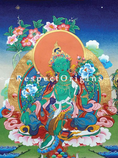 Green Tara Vertical Large Tibetan Thangka Painting Adorned With 24K Gold Paint Framed in A Traditional Silk Brocade Border Finished Size With Border;  36x28 in.