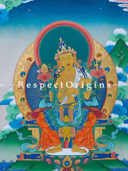Maitreya Vertical Large Tibetan Thangka Painting Adorned With 24K Gold Paint Framed in A Traditional Silk Brocade Border Finished Size With Border Is 36x28 in.