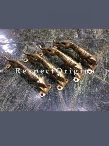 Buy Tiger Brass Pull Door Handle; Antique Finish Indian Decor; Set of 4; 8 in; Handcrafted Door Accessories At RespectOrigins.com