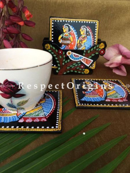 Buy Square Set of 6; Ladies with Musical instrument Hand Painted Tikuli Art Tea Coasters With Holder; 4x4 in At RespectOrigins.com