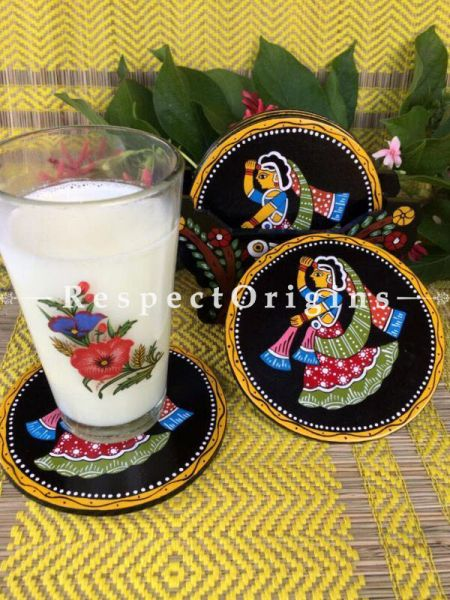 Buy Round Set of 6; Life of Village Women Hand Painted Tikuli Art Tea Coasters With Holder; 4 in At RespectOrigins.com