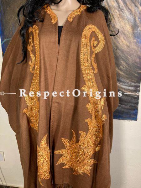 Tilla Embroidered Brown Cape Shawl on Semi- Pashmina Wool; Free Size; RespectOrigins.com