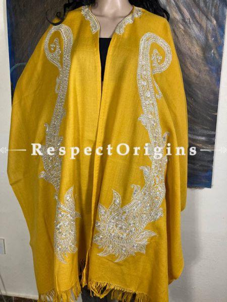 Tilla Embroidered Yellow Cape Shawl on Semi- Pashmina Wool; Free Size; RespectOrigins.com