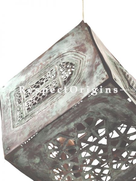 Buy Copper Embossed Patina Cube Hanging Lights; 12.5 Inches Height, 12.5 Inches Width  at RespectOrigins.com