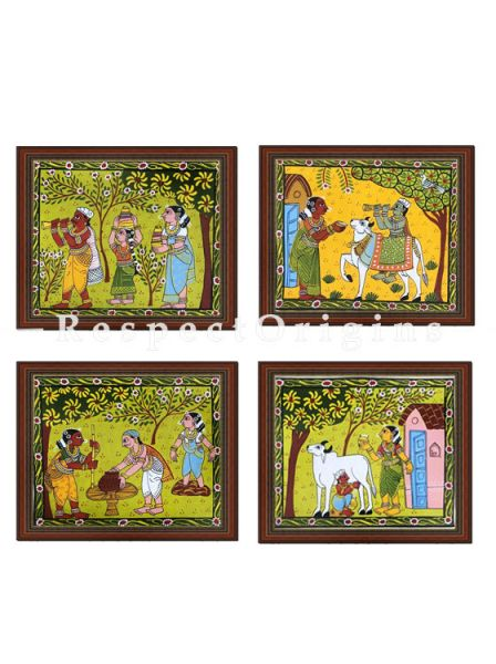 Buy Set of 4 Cheriyal Painting Horizontal Wall Art Hand Painted on Canvas Tribal activities 9x11 inches at RespectOrigins.com