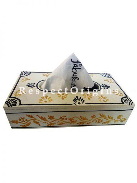 Buy Traditional Hand-painted White Rectangular Tissue Holder or Napkin box; Wood At RespectOrigins.com