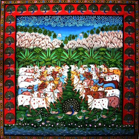 Highly Sought-after Pichwai Painting of Herd of Cows 27x27 in