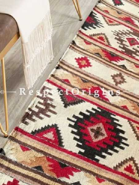 Buy Woolen Floor Runner with Cream base and Black Borders, Contrasting Colors and geometric design, Artisanal, One of a kind, handknotted, Tribal 12x2.5 Ft At RespectOrigins.com