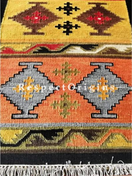 Buy Artisanal, Hand Knotted, One of a kind, Tribal, Woolen Floor Runner with Black Borders, Contrasting Colors and geometric design, 12x2.5 Ft At RespectOrigins.com