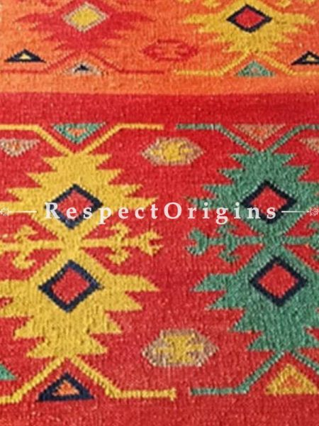 Buy Tribal, Hand Knotted, One of a kind, Artisanal, Woolen Floor Runner with Red and Cream Borders, Contrasting Colors and geometric design, 12x2.5 Ft At RespectOrigins.com