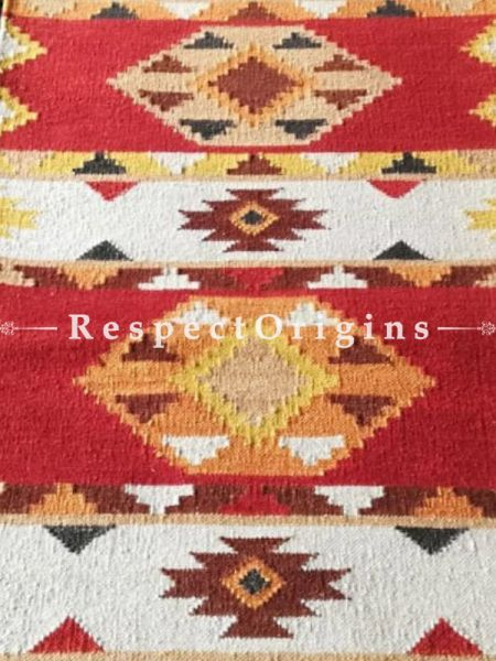 Buy One of a kind, Artisanal, Woolen Floor Runner with Red, Cream Base and Yellow, Red Borders, Tribal, Hand knotted, Contrasting Colors and geometric design, 12x2.5 Ft At RespectOrigins.com
