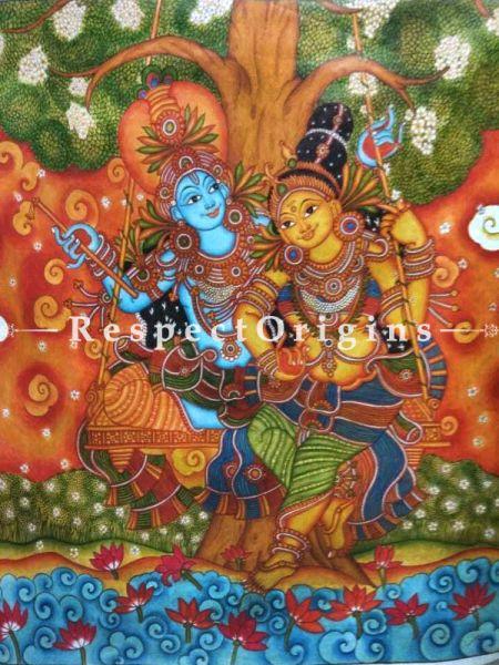 Buy Kerala Mural Painting of RadhaKrishna on a Swing |Respectorigins