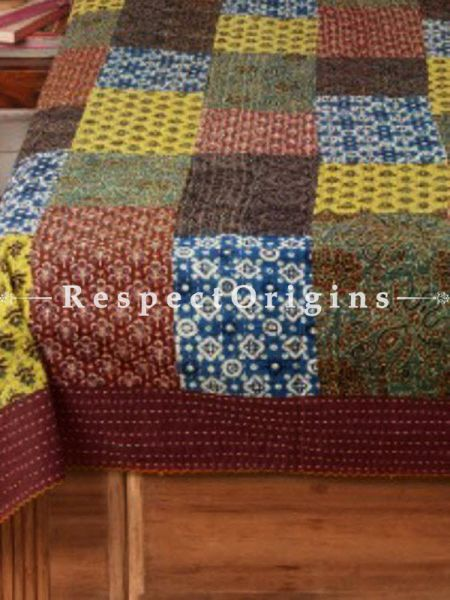 Buy Traditional Patch Work Double Bed cover, Multicolored; Cotton, 90x108 in At RespectOrigins.com