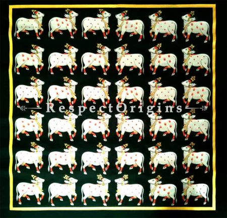 Krishna's Beloved Cow; Traditional Rajasthani Pichwai Painting; 30x30 in