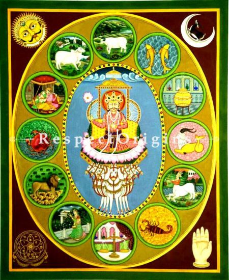 Buy Traditional Pichwai Painting of Zodiac Signs 37 x 46 inches RespectOrigins