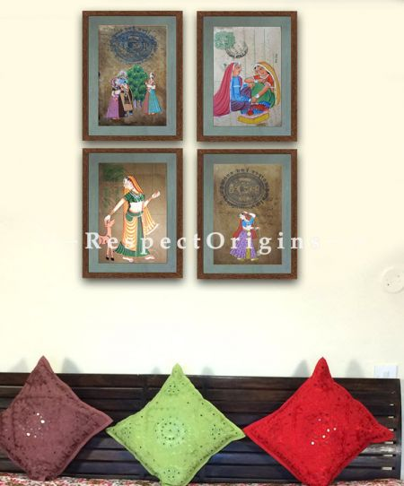 Buy Traditional Women; Set of 4; Miniature Painting; Vertical; Traditional Rajasthani Wall Art at RespectOrigins.com