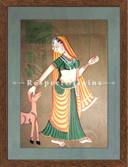 Traditional Women; Set of 4; Miniature Painting; Vertical; Traditional Rajasthani Wall Art