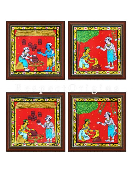 Buy Set of 4 Cheriyal Painting Square Wall Art Hand Painted on Canvas Tribal activities 8x8 inches at RespectOrigins.com