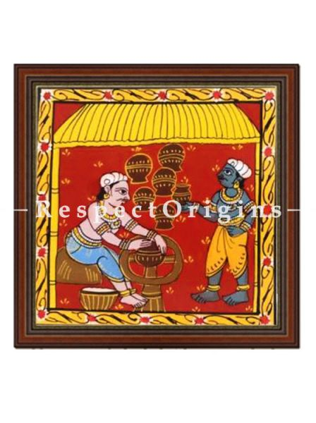 Daily chores of tribal people, Set of 8 Cheriyal Painting, Square, Wall Art, Hand Painted, Canvas, 8x8 in