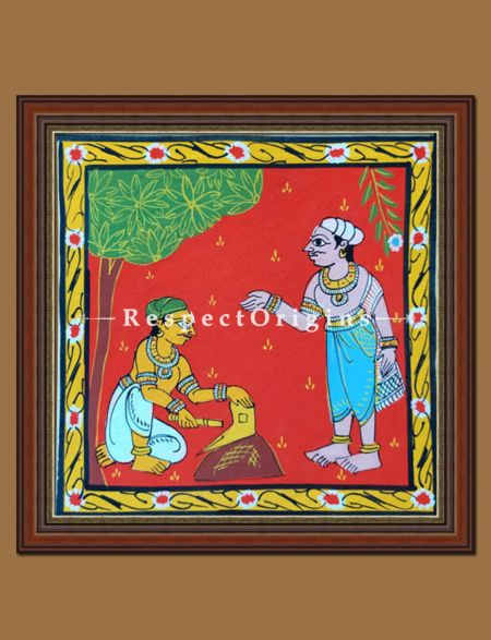 Painted Scrolls of Cheriyal; Man Sharping the Plough; Folk Art Square Painting in 8x8 in; Traditional Painting on Canvas