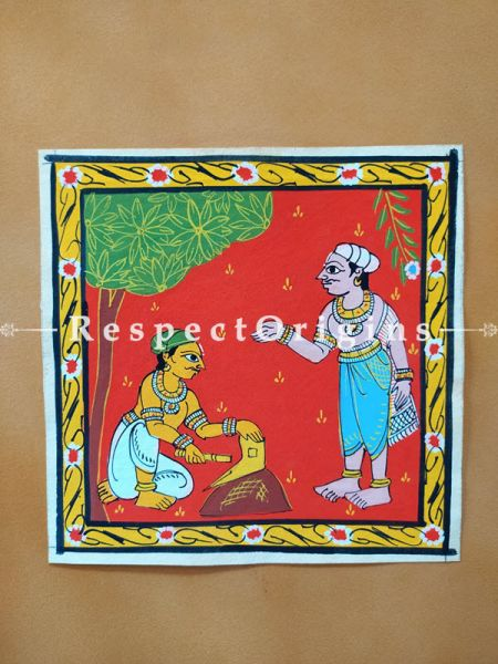 Painted Scrolls of Cheriyal; Man Sharping the Plough; Folk Art Square Painting in 8X8 inches; Traditional Painting on Canvas, RespectOrigins