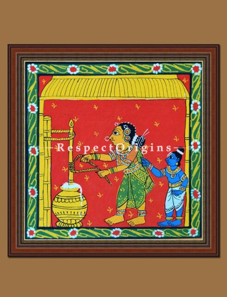 Painted Scrolls of Cheriyal; Krishna and Yashoda; Folk Art Square Painting in 8x8 in; Traditional Painting on Canvas