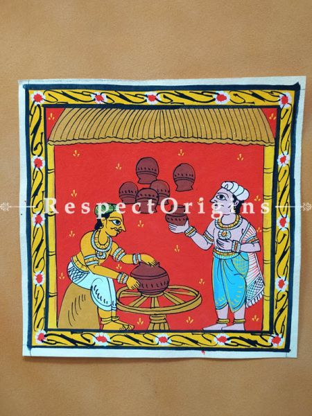 Painted Scrolls of Cheriyal; Pottery; Folk Art Square Painting in 8X8 inches; Traditional Painting on Canvas, RespectOrigins