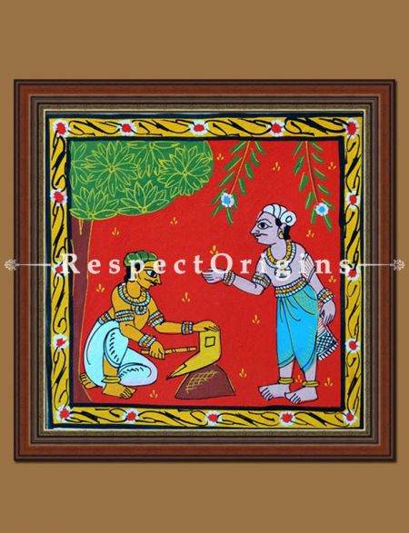 Tribal activities, Set of 4 Cheriyal Painting, Square, Wall Art, Hand Painted, Canvas, 8x8 in
