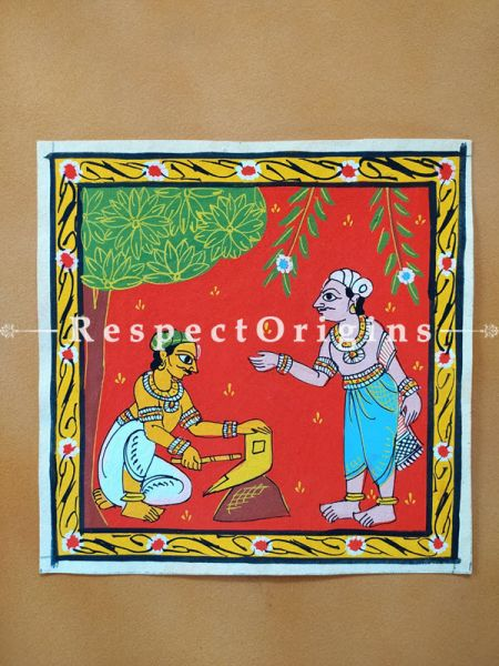 Painted Scrolls of Cheriyal; Man RepaiRing Plough; Folk Art Square Painting in 8X8 inches; Traditional Painting on Canvas, RespectOrigins