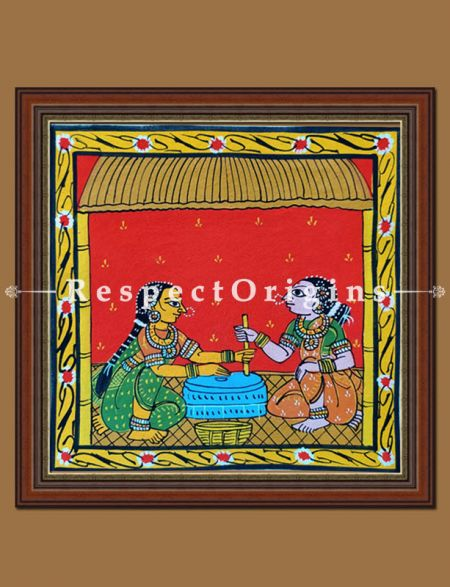 Painted Scrolls of Cheriyal; Traditional Grinder; Folk Art Square Painting in 8x8 in; Traditional Painting on Canvas