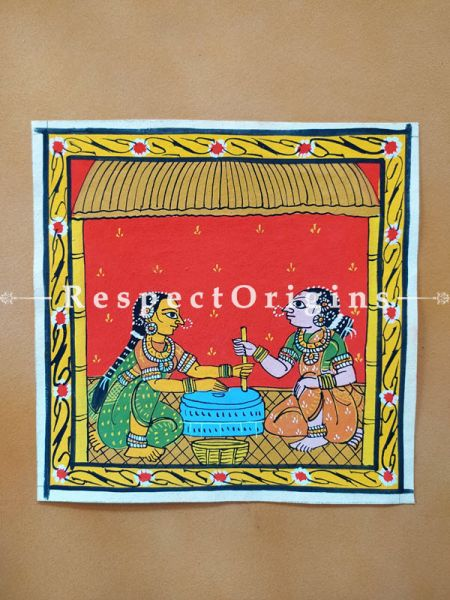 Painted Scrolls of Cheriyal; Traditional Grinder; Folk Art Square Painting in 8X8 inches; Traditional Painting on Canvas, RespectOrigins