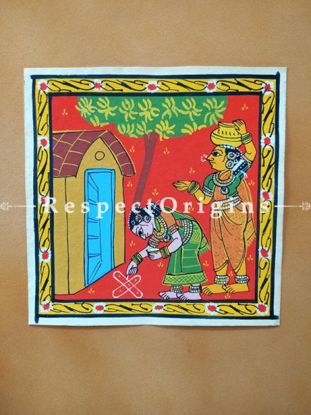 Painted Scrolls of Cheriyal; Folk Art Square Painting in 8X8 inches; Ladies Doing Morning Stuffs Traditional Painting on Canvas, RespectOrigins