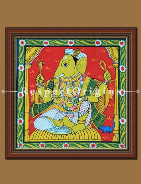Painted Scrolls of Cheriyal; Ganapati; Folk Art Square Painting in 8X8 inches; Traditional Painting on Canvas; RespectOrigins
