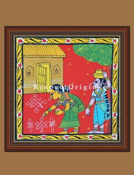 Painted Scrolls of Cheriyal; Lady MaKing Kolam; Folk Art Square Painting; 8x8 in; Traditional Painting on Canvas
