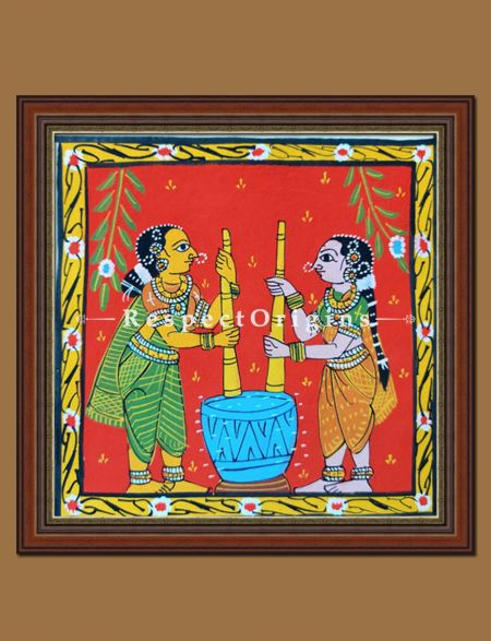 Colurful Framed Original Painted Scrolls of Cheriyal Folk Art; Ladies using Okhal; Square Painting in 8x8 in; Traditional Painting on Canvas