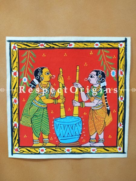 Painted Scrolls of Cheriyal; Ladies using Okhal; Folk Art Square Painting in 8X8 inches; Traditional Painting on Canvas; RespectOrigins