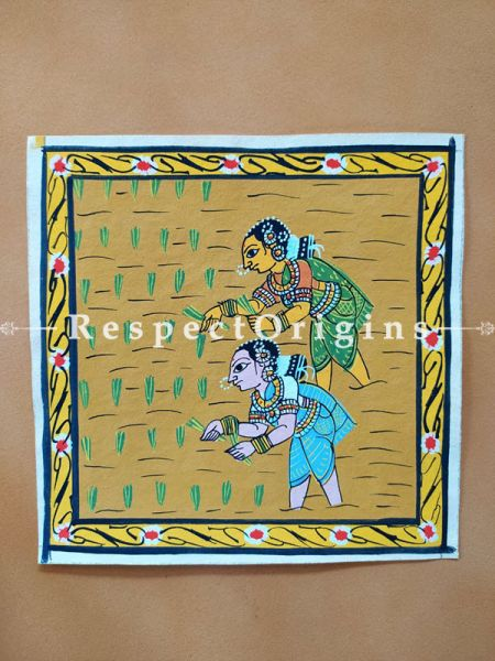 Painted Scrolls of Cheriyal; Ladies Sow The Crop; Folk Art Square Painting in 8X8 inches; Traditional Painting on Canvas, RespectOrigins