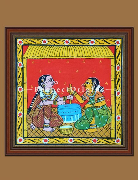 Painted Scrolls of Cheriyal; Ladies Using Grinder; Folk Art Square Painting in 8x8 in; Traditional Painting on Canvas