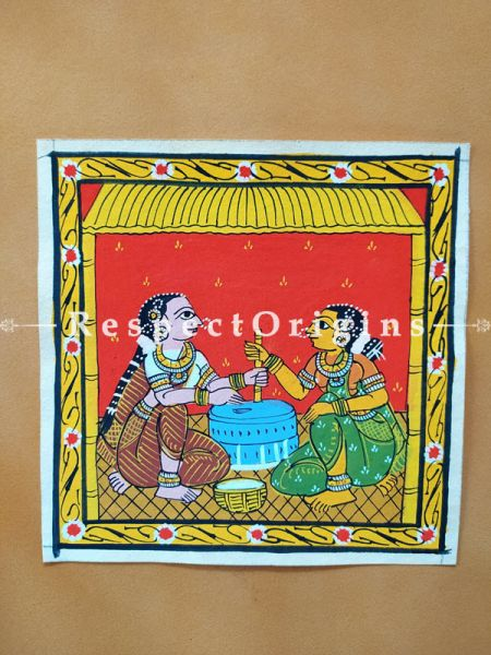 Painted Scrolls of Cheriyal; Ladies Using Grinder; Folk Art Square Painting in 8X8 inches; Traditional Painting on Canvas, RespectOrigins