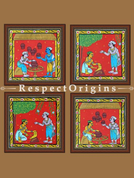 Painted Scrolls of Cheriyal; Man MaKing Pot; Folk Art Square Painting in 8X8 inches; Traditional Painting on Canvas, RespectOrigins