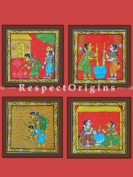 Painted Scrolls of Cheriyal; Lady MaKing Kolam; Folk Art Square Painting in 8X8 inches; Traditional Painting on Canvas; RespectOrigins