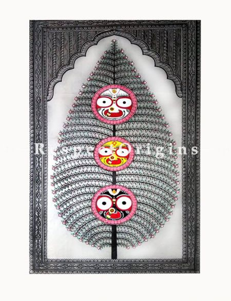 Buy Tree of Life And Mahaabaahu Pattachitra Katha tree of life and Mahaabaahu Pattachitra Painting Canvas Large Vertical Folk Art of Odisha 30x18; RespectOrigins.com